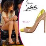 Rihanna Christian Louboutin pudra metal ayakkabi 150x150 Metalik Burunlu Ayakkabı Modelleri