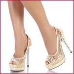 krem dantelli abiye ayakkabi ornekleri 150x150 Yüksek Topuklu Ayakkabılar